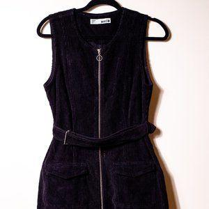 Black belted  zip up corduroy dress